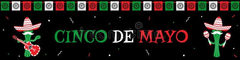 滑稽的仙人掌墨西哥流浪乐队结合cinco de马约角横幅 皇族释放例证