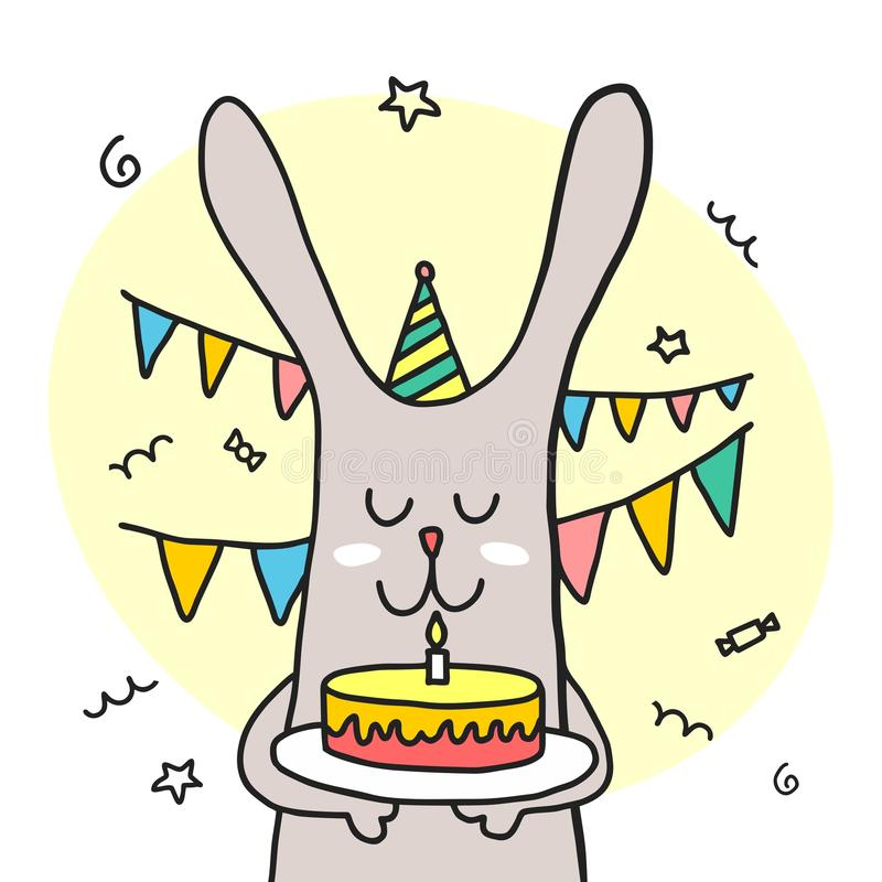 滑稽的兔宝宝举行生日快乐蛋糕 动画片五颜六色的平的传染媒介动物例证 向量例证