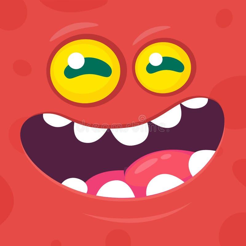 滑稽的凉快的动画片妖怪面孔 传染媒介万圣夜红色妖怪字符 皇族释放例证