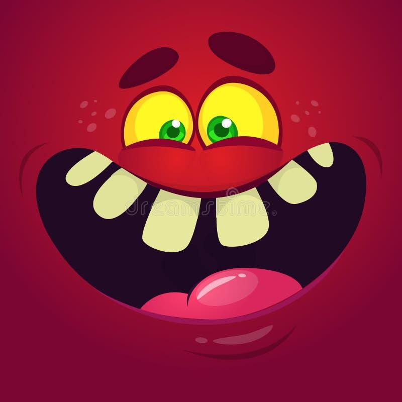 滑稽的凉快的动画片妖怪面孔 传染媒介万圣夜红色妖怪字符 库存例证