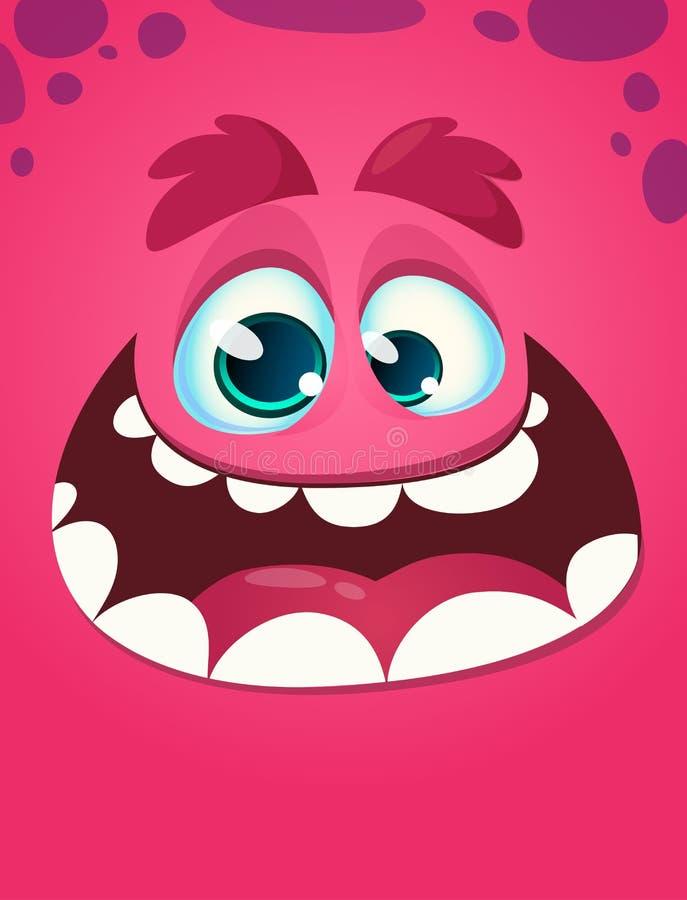 滑稽的凉快的动画片妖怪面孔 向量例证