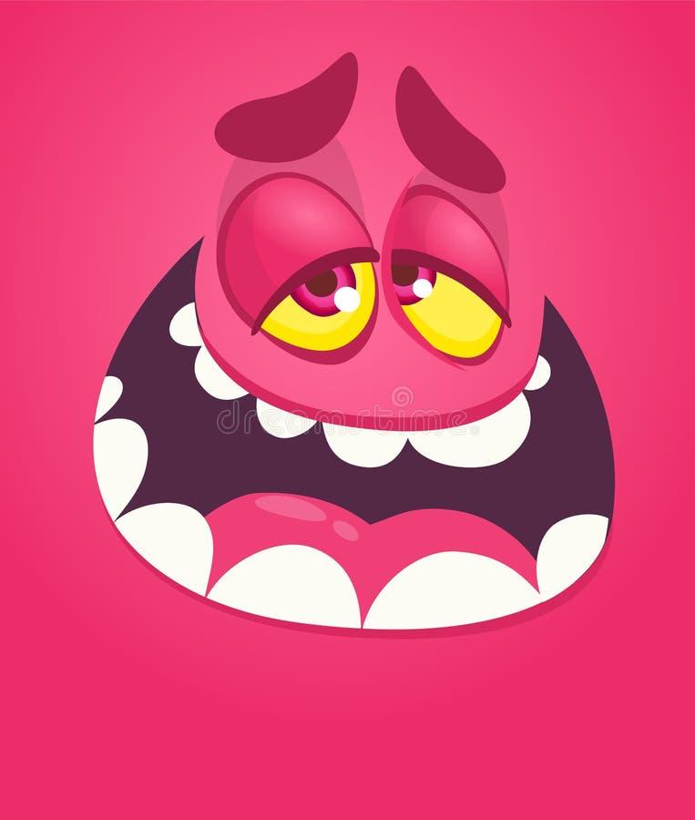 滑稽的凉快的动画片妖怪面孔 疲倦的传染媒介万圣节桃红色妖怪字符 向量例证