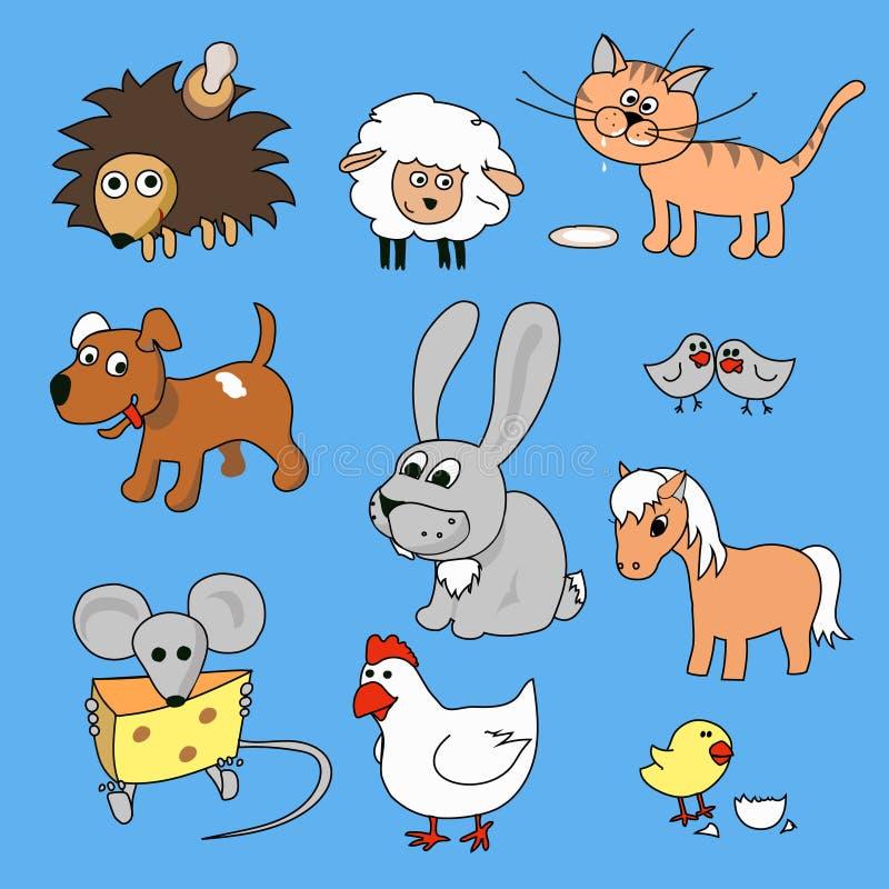 滑稽的动物动画片手拉的传染媒介例证象集合 向量例证