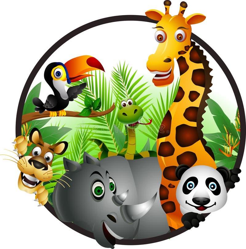 滑稽的动物动画片 库存例证