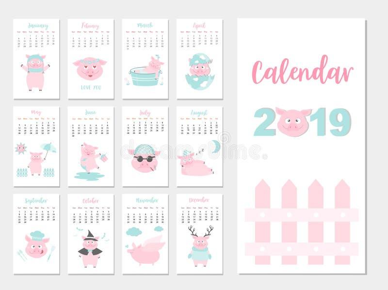 滑稽的动物日历2019设计,猪月度卡片模板的年,套12个月,月度孩子,传染媒介例证 向量例证