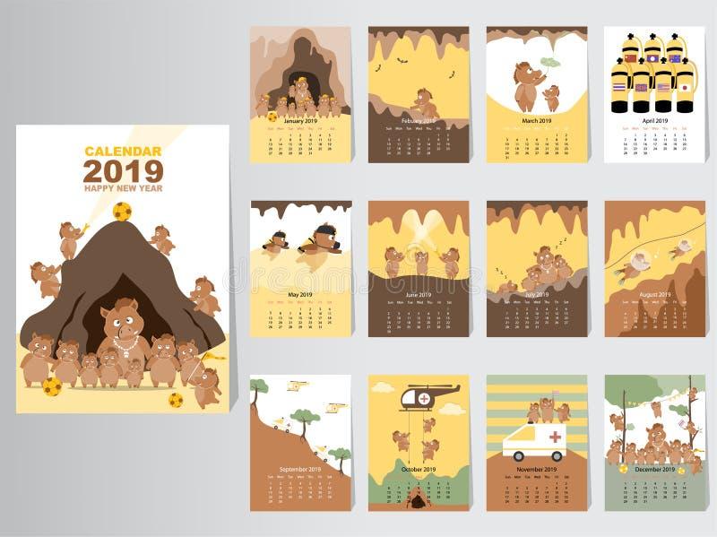 滑稽的动物日历2019设计,猪月度卡片模板的年,套12个月,月度孩子,泰国图片