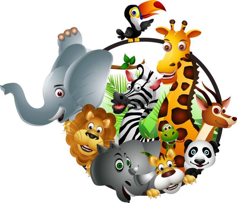 滑稽的动物野生生物动画片收藏 向量例证