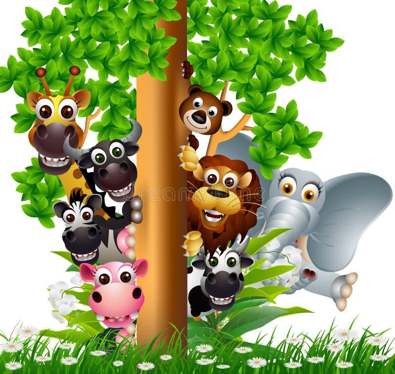 滑稽的动物野生生物动画片收藏 皇族释放例证