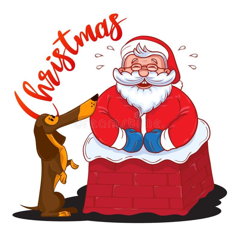滑稽的动画片圣诞老人在烟囱和和褐色达克斯猎犬-年的标志黏附了 向量例证