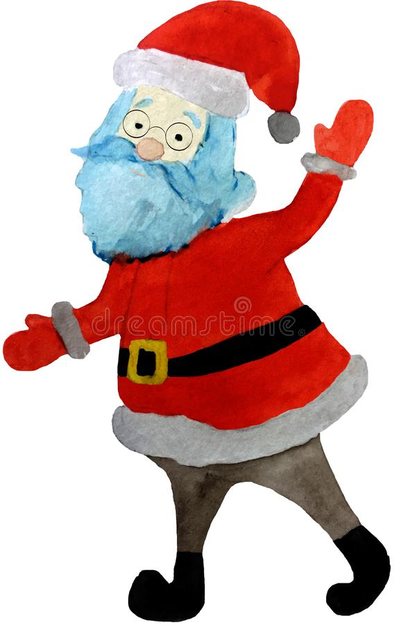 滑稽的动画片圣诞老人项目,圣诞节设计元素 水彩手印刷品的,海报,卡片图画例证 库存例证