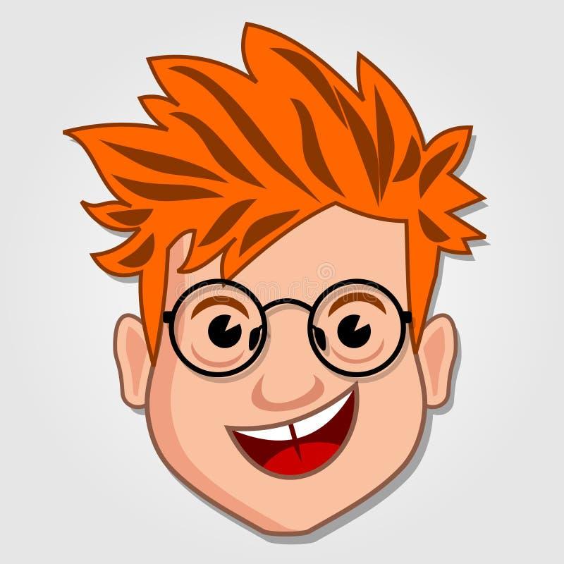 滑稽的动画片男孩面孔象 向量例证