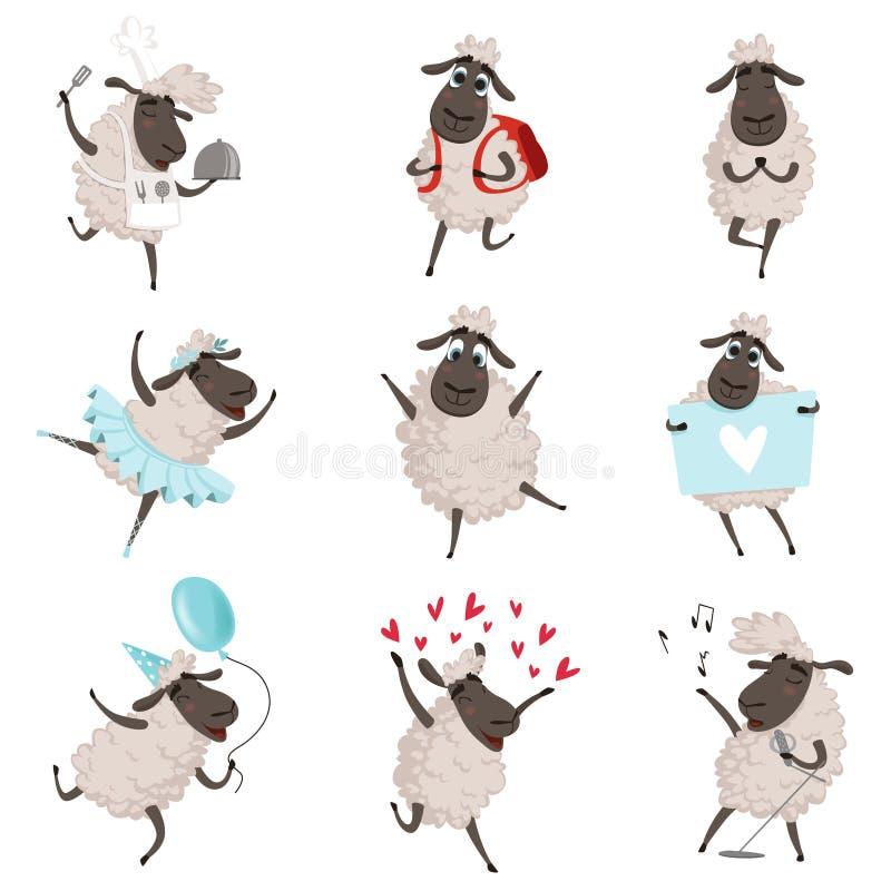 滑稽的动画片绵羊以各种各样的行动姿势 向量例证