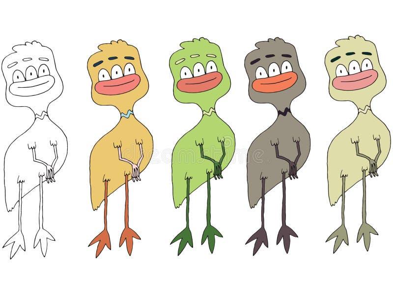 滑稽的动画片色写手工制造凹道乱画妖怪外籍人鸡 向量例证