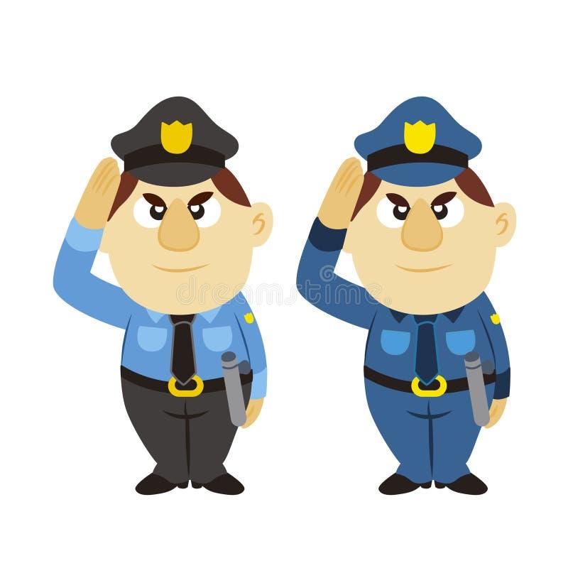 滑稽的动画片警察,二个颜色 库存例证
