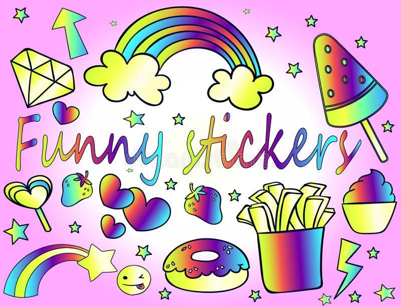 滑稽的动画片贴纸-霓虹青年贴纸的大收藏量 库存例证