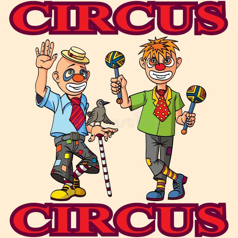 滑稽的动画片马戏团小丑 快乐的快乐的表现 皇族释放例证