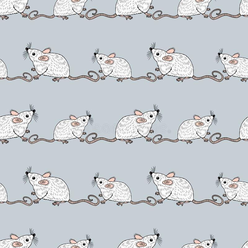 滑稽的动画片鼠无缝的背景  库存例证