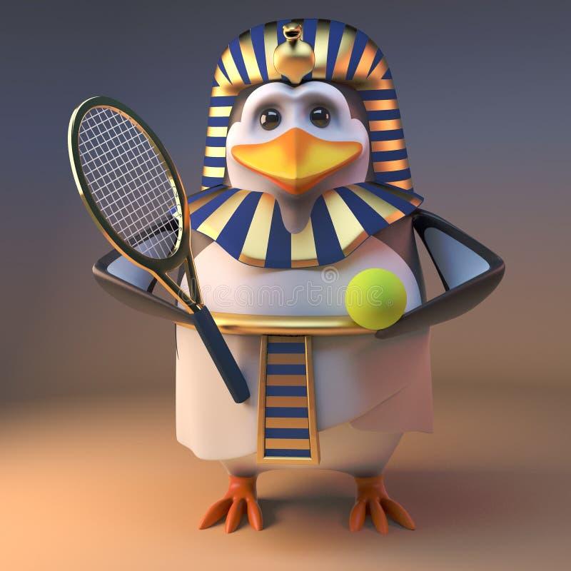 滑稽的动画片3d埃及企鹅法老王Tutankhamun喜欢打网球,3d例证 向量例证