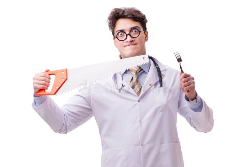 滑稽的医生与在白色看见了隔绝 库存图片