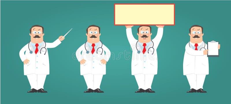 滑稽的医生姿态或标志集合 r 库存例证