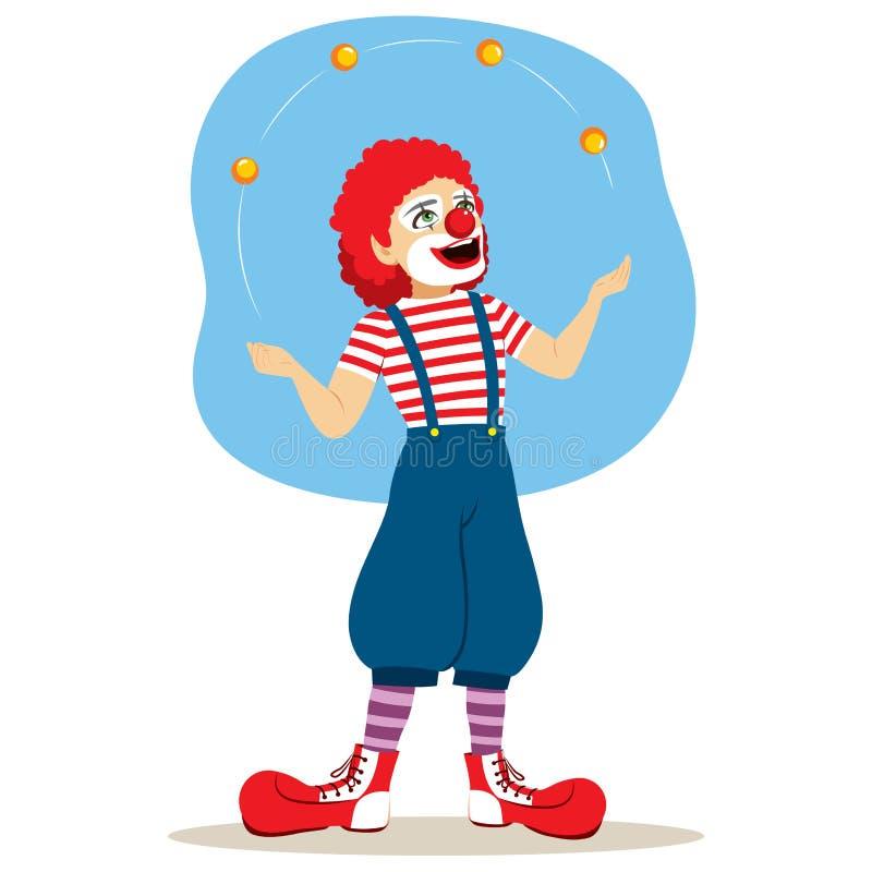 滑稽的变戏法者小丑 向量例证