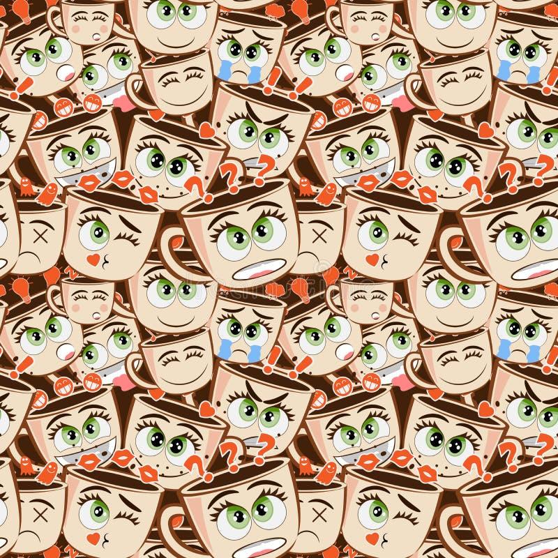 滑稽的咖啡或可可粉杯子的无缝的样式用不同的情感的 传染媒介emoji恶集合 咖啡杯商标滑稽的贴纸 向量例证