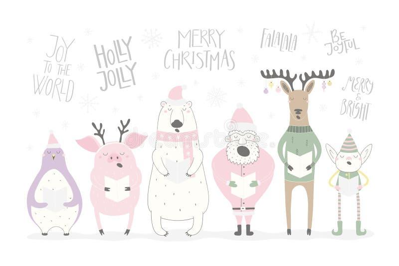 滑稽的唱歌动物和圣诞老人圣诞卡 向量例证