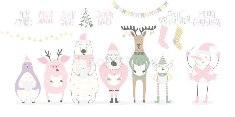 滑稽的唱歌动物和圣诞老人圣诞卡 皇族释放例证