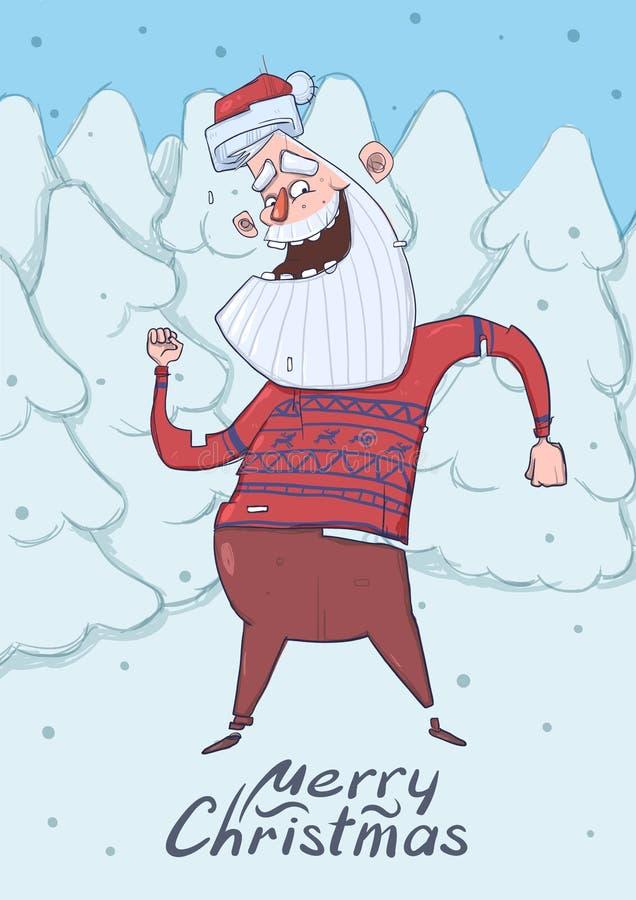滑稽的圣诞老人跳舞圣诞卡在森林鹿毛线衣的微笑的圣诞老人在多雪的冷杉前面跳舞 库存例证