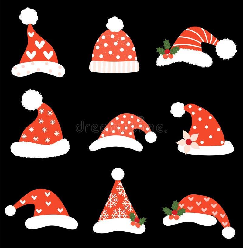 滑稽的圣诞节传染媒介设置与圣诞老人帽子 向量例证
