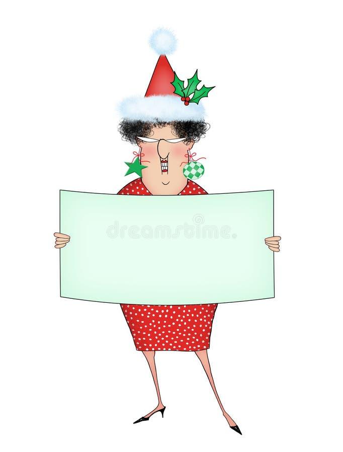滑稽的圣诞节动画片夫人Holding与室的一个标志文本的 向量例证