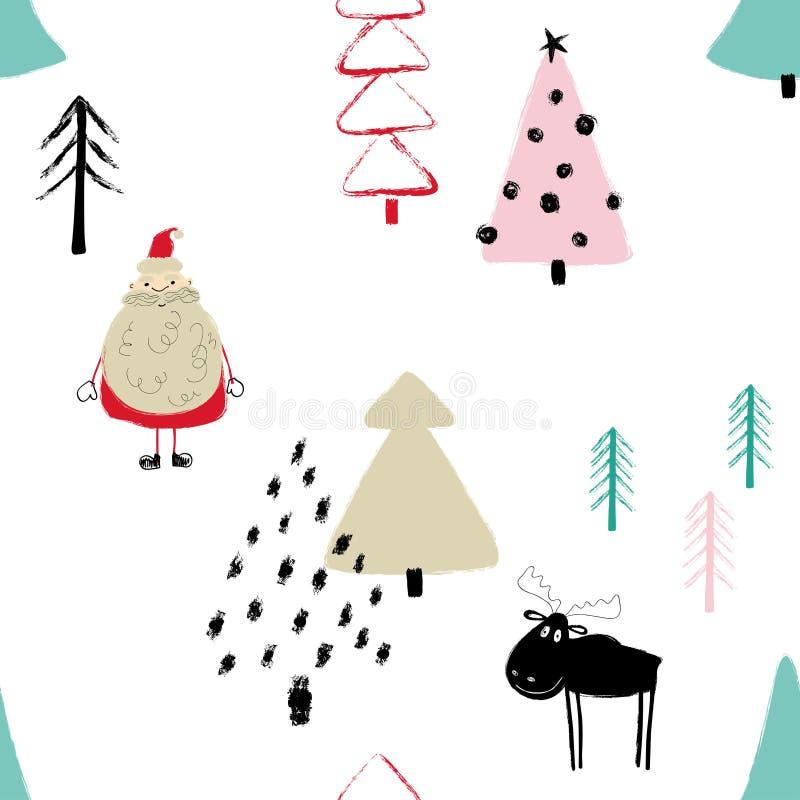 滑稽的圣诞节森林无缝的样式 库存例证