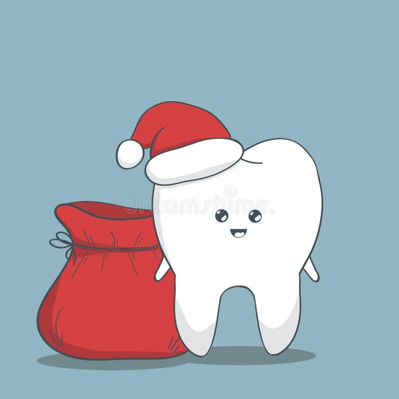 滑稽的圣诞节牙 库存例证