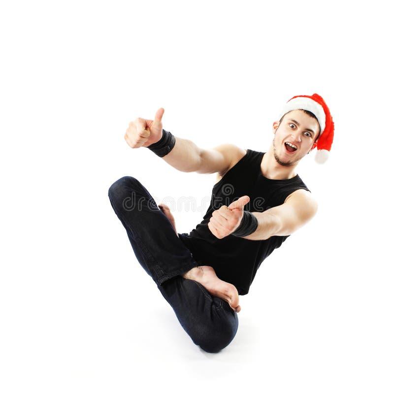 滑稽的圣诞节瑜伽。 库存照片