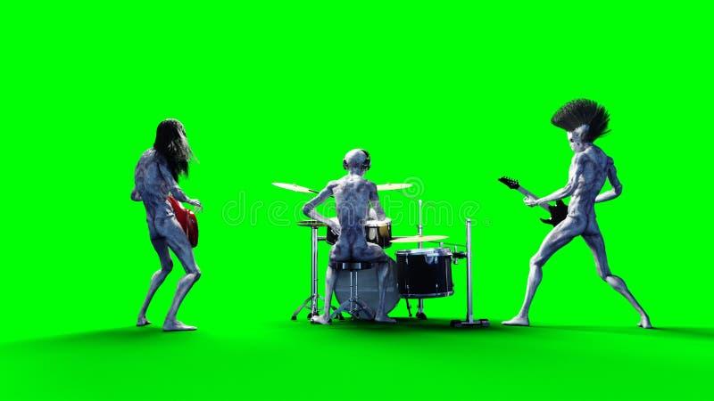 滑稽的外籍人摇滚乐队 低音,鼓,吉他 现实行动和皮肤shaders 3d翻译 皇族释放例证