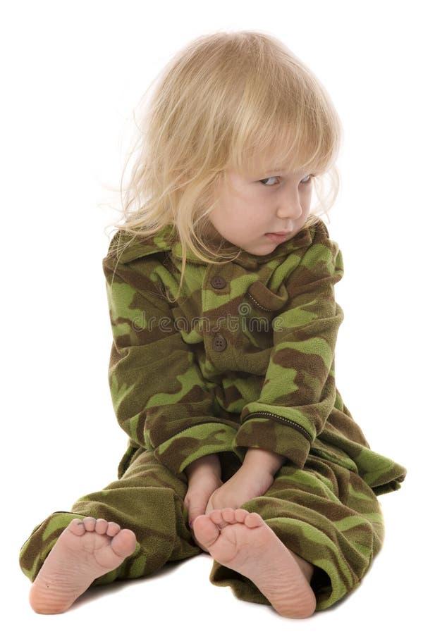 滑稽的女孩军事一点 免版税库存照片