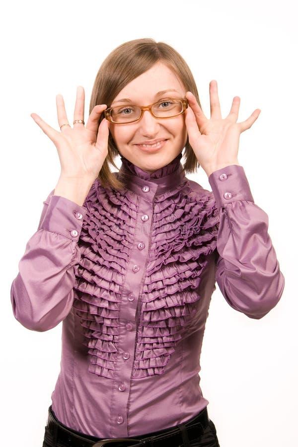 滑稽的妇女年轻人 免版税库存照片