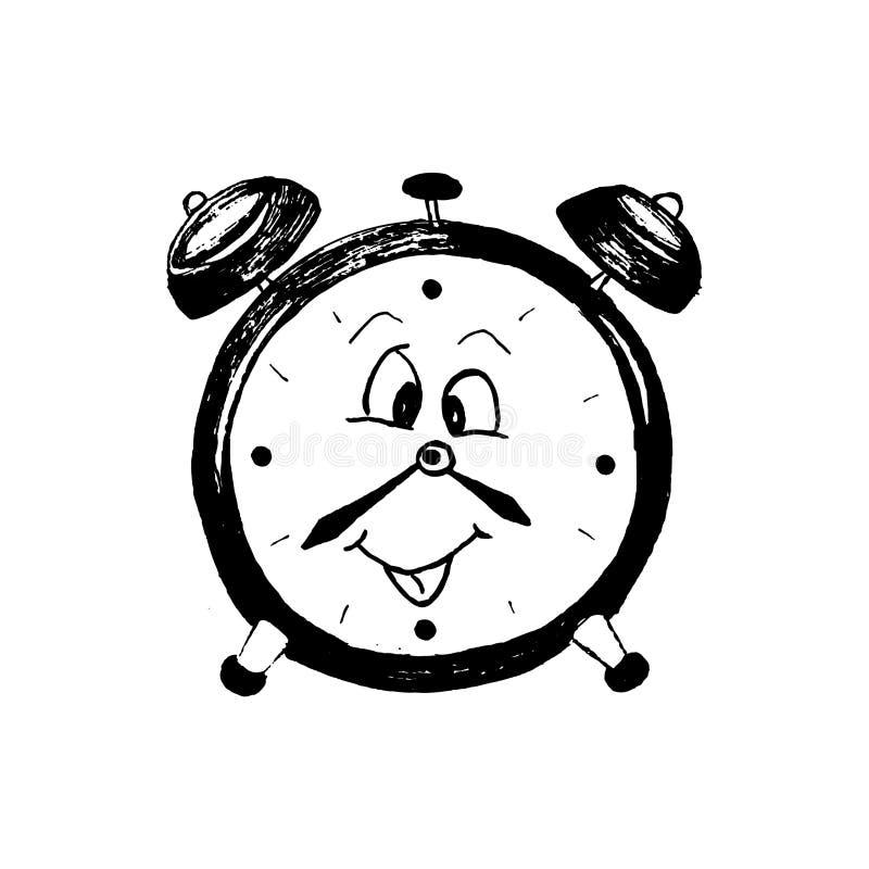 滑稽的字符闹钟,时钟,用手被画,隔绝在白色背景 向量例证