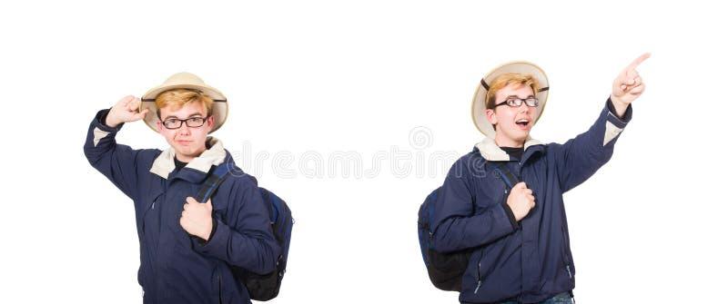 滑稽的学生佩带的徒步旅行队帽子 库存图片