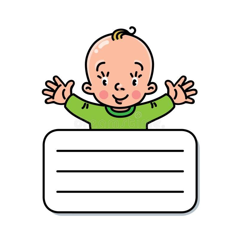 滑稽的小婴孩设计模板 向量例证