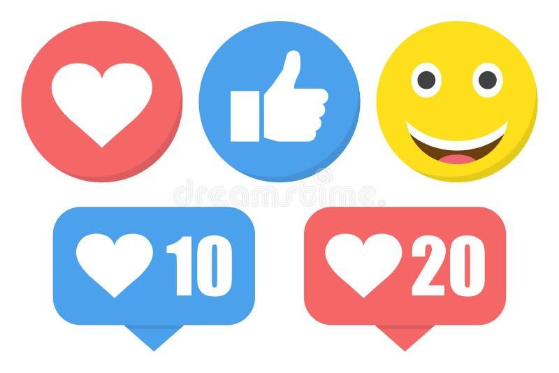 滑稽的平的样式emoji意思号反应颜色象集合 社会微笑表示收藏 库存例证