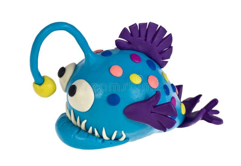 滑稽的彩色塑泥琵琶鱼 免版税库存照片