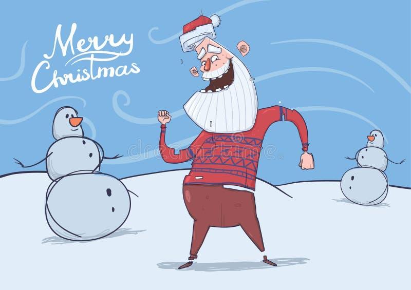 滑稽的微笑的圣诞老人圣诞卡鹿毛线衣跳舞的在冷淡的刮风的天气的雪人旁边 水平 库存例证