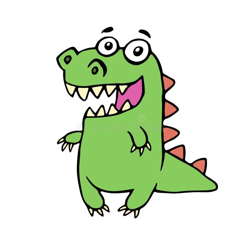 滑稽的微笑的恐龙 逗人喜爱的虚构的字符 库存例证