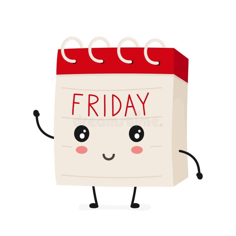 滑稽的微笑的愉快的常设书桌星期五日历.图片