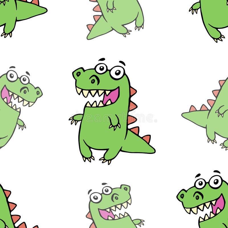 滑稽的微笑的样式恐龙 也corel凹道例证向量 库存例证