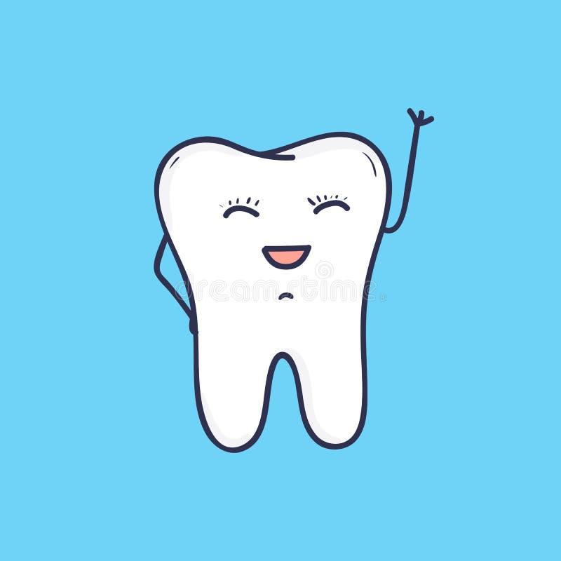 滑稽的微笑的牙挥动的手 美丽的快乐的吉祥人或标志牙齿诊所或医院的 逗人喜爱的友好的动画片 库存例证