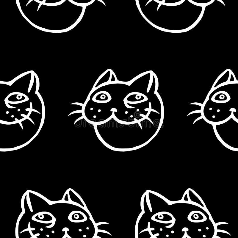 滑稽的微笑的猫头 上色模式可能的变形多种向量 库存例证