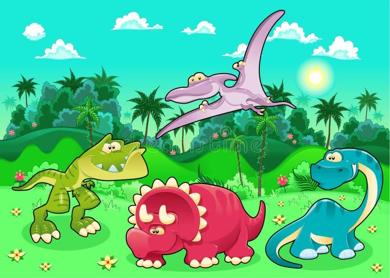 滑稽的恐龙在森林里。 库存例证