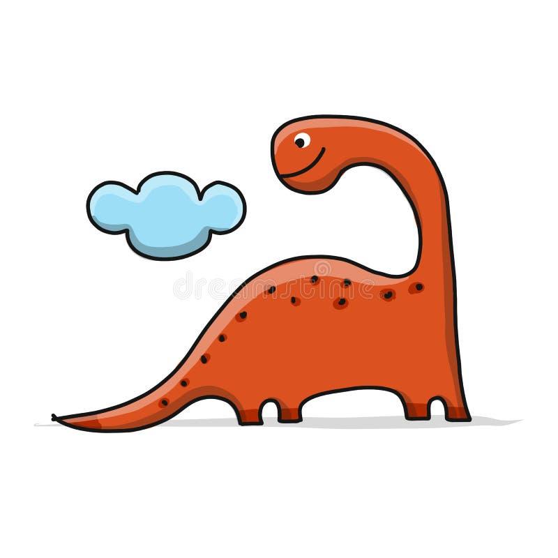 滑稽的恐龙,幼稚样式 您的设计的剪影 库存例证